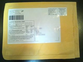 郵送で届いたバックアップ DVD の封筒
